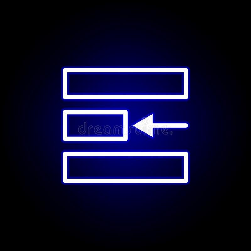Левый значок выравнивания в неоновом стиле Смогите быть использовано для сети, логотипа, мобильного приложения, UI, UX бесплатная иллюстрация
