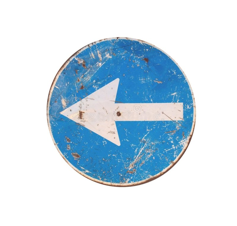 левый поворот дорожного знака стоковое фото rf