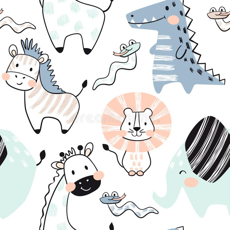 Лев, жираф, слон, крокодил, зебра, картина младенца змейки безшовная Скандинавская милая печать иллюстрация штока