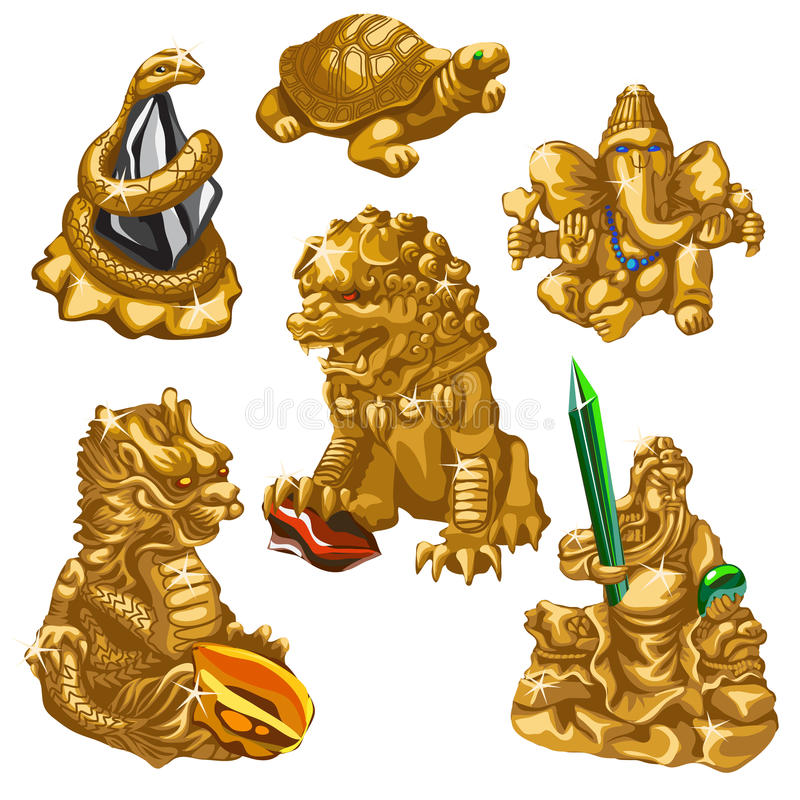 Лев, змейка, Poseidon и другие символы поклонения бесплатная иллюстрация