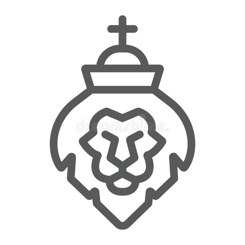 Лев линии значка judah, вероисповедания и животного, знака льва главного, векторных график, линейной картины на белой предпосылке иллюстрация штока