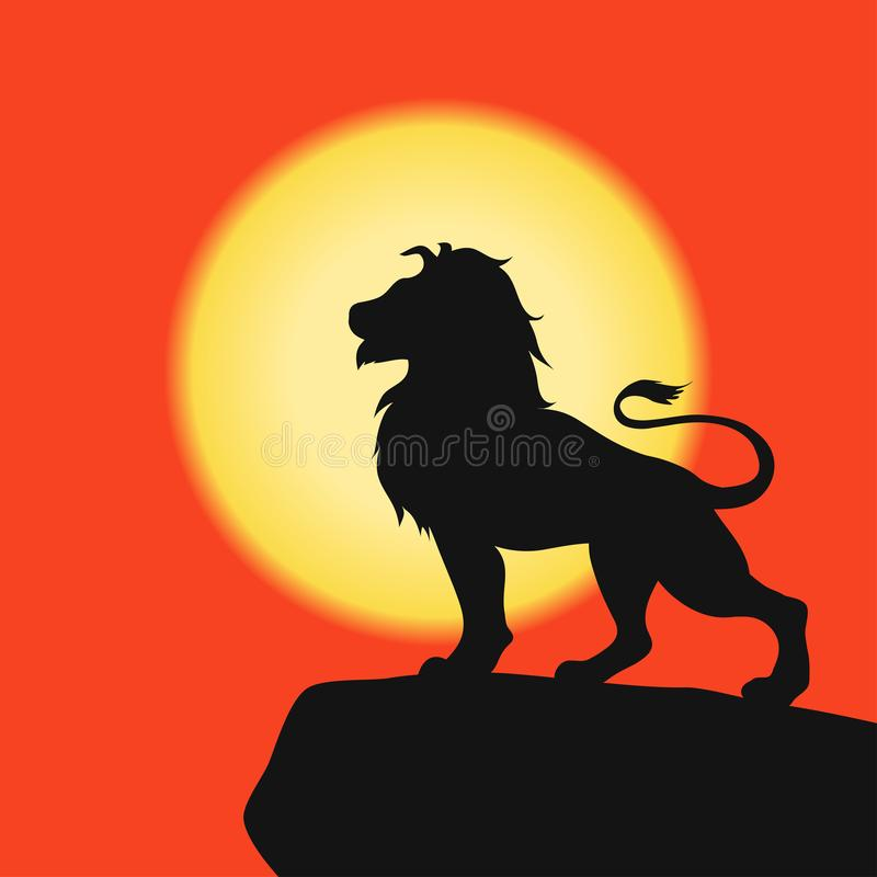 Лев на утесе - черный силуэт на предпосылке захода солнца африканское сафари вектор бесплатная иллюстрация