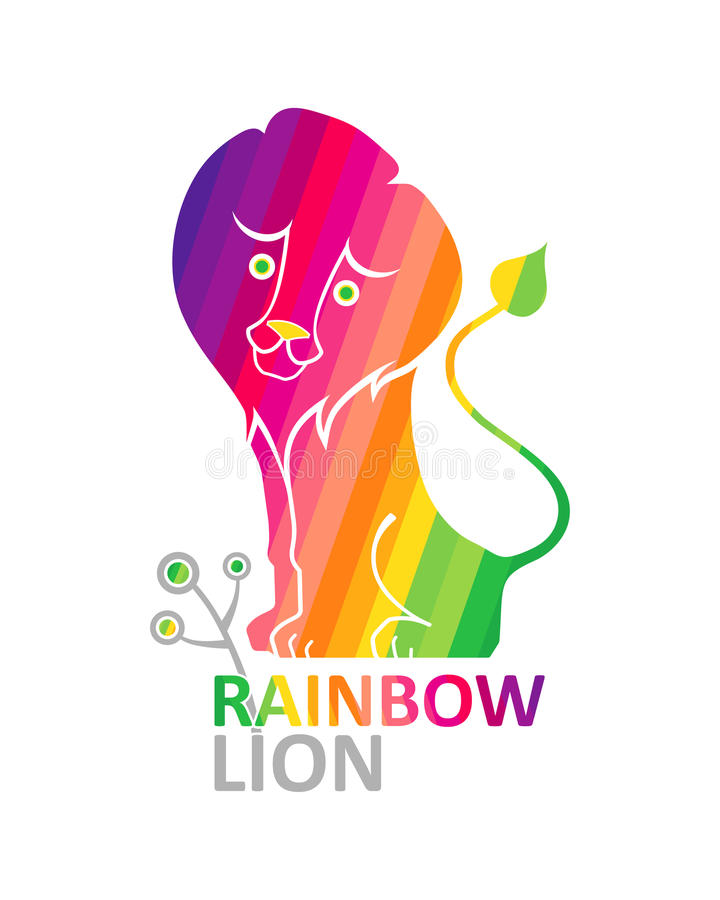 Лев радуги. бесплатная иллюстрация