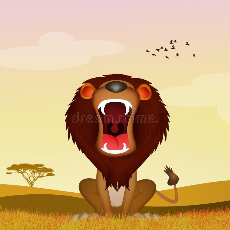 Лев ревет в саванне стоковое фото