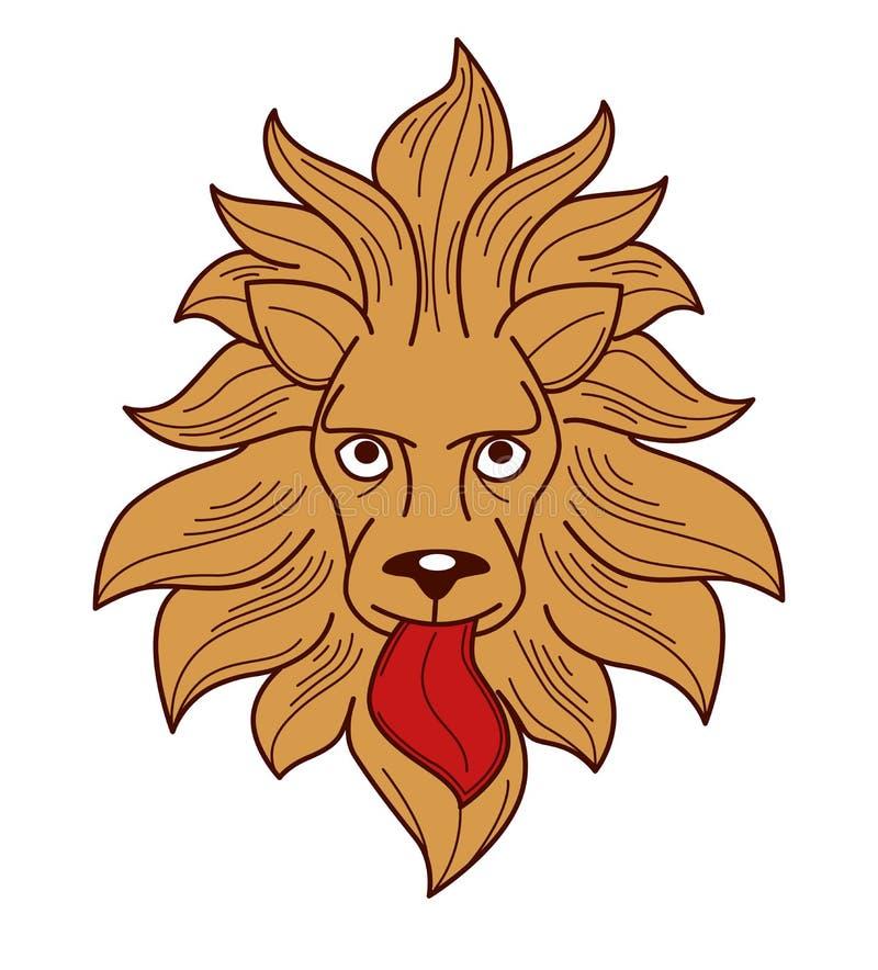 Лев символа королевской власти геральдики с головой золота языка и гривы животной иллюстрация штока