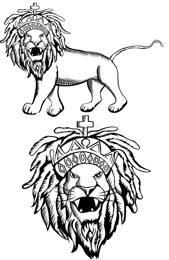 Лев Rasta Judah иллюстрация вектора
