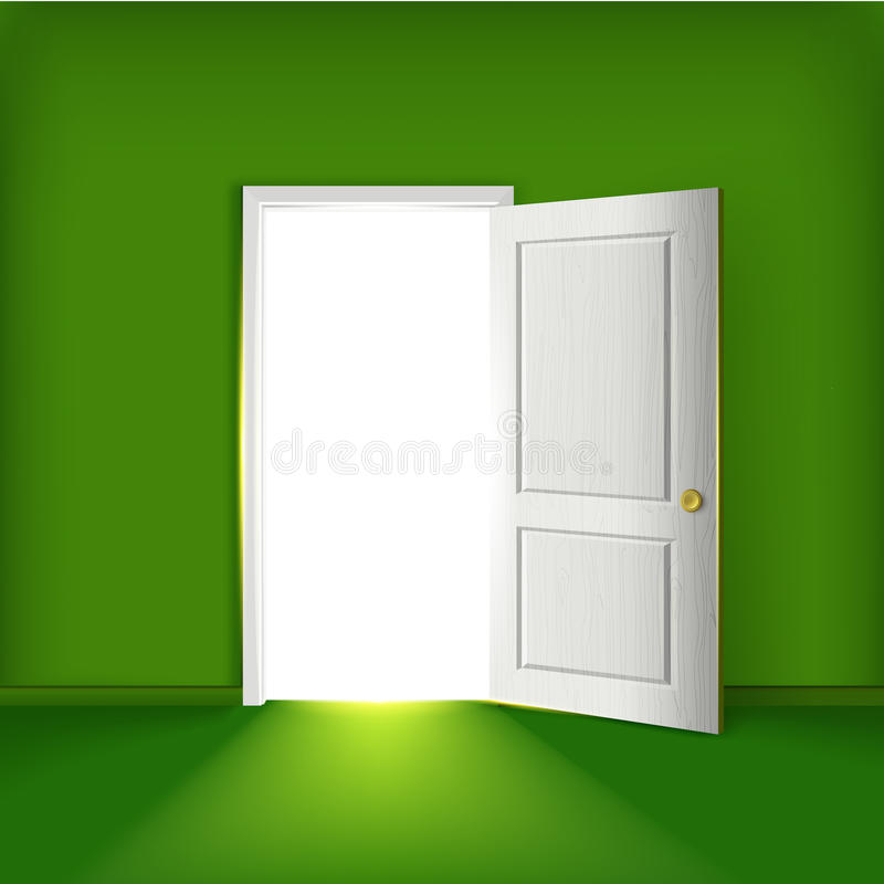 Легкая зеленая комната с концепцией открыть двери иллюстрация вектора