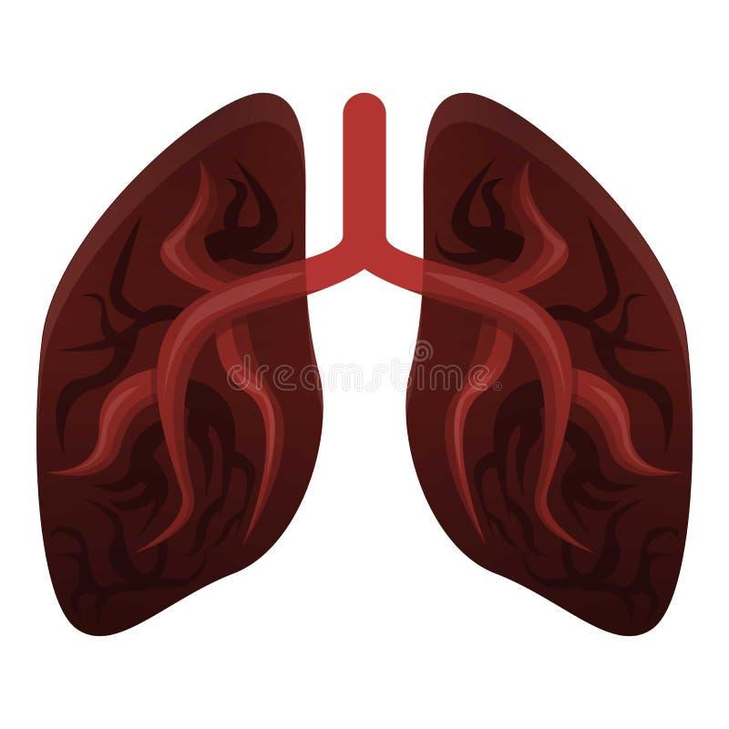 Легкие значок курильщика, стиль мультфильма иллюстрация вектора