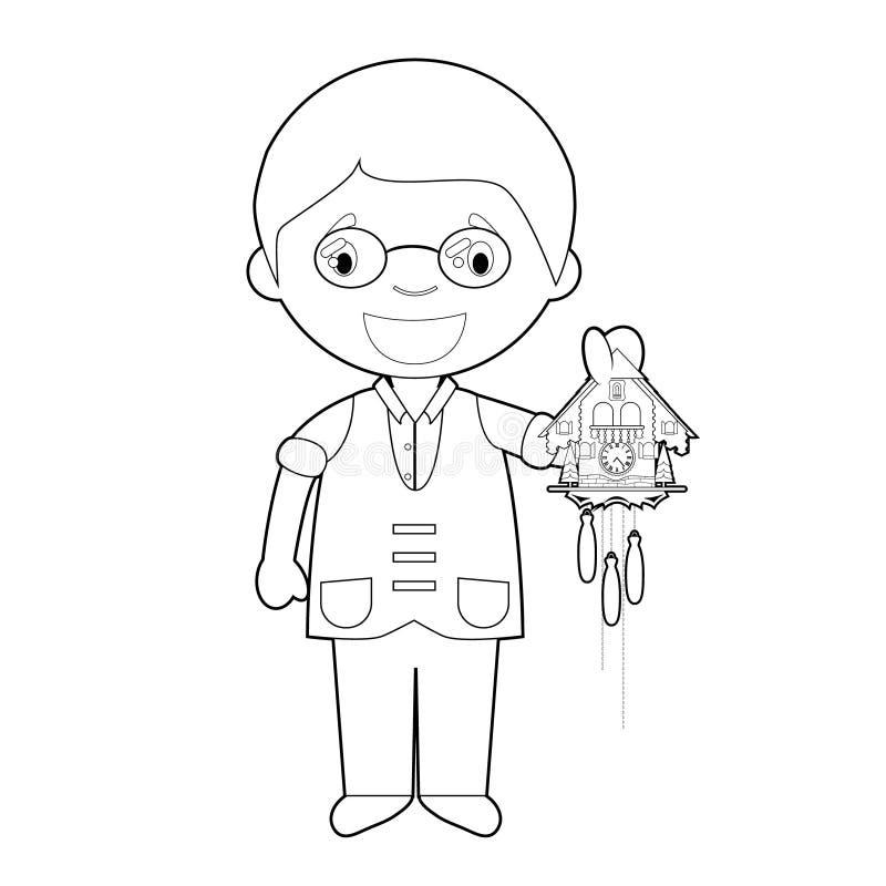 Легкий крася персонаж из мультфильма часовщика от Швейцарии с часами с кукушкой r иллюстрация штока