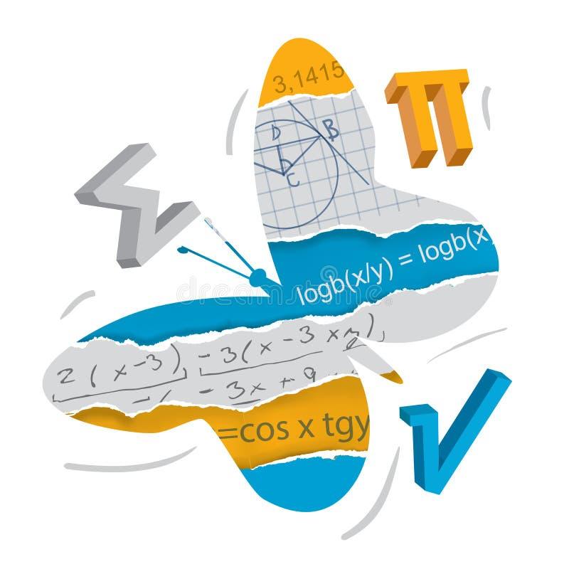 Легкость изучения математики и геометрия, концепция бабочки иллюстрация штока
