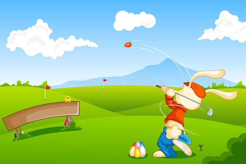 Зайчик играя гольф с пасхальным яйцом иллюстрация вектора