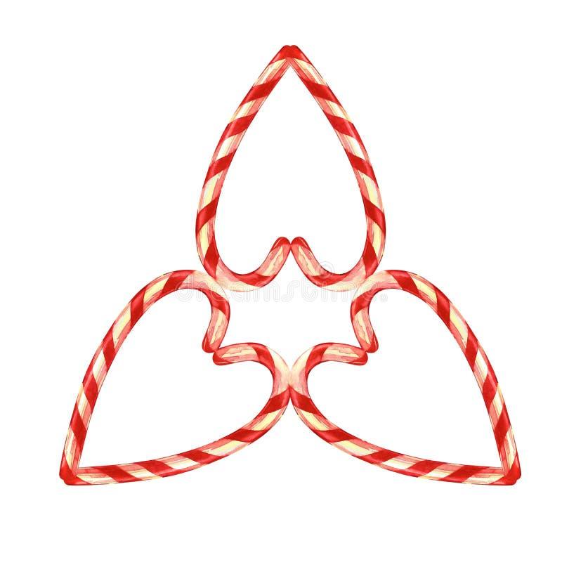 Леденец на палочке, звезда клал вне с конфетами рождества с смычком Элементы для рождественской открытки изображение иллюстрации  иллюстрация штока