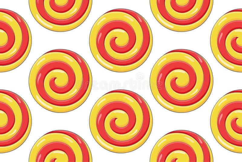 Леденец на палочке свирли Красная желтая конфета сахара Картина Seamess иллюстрация вектора
