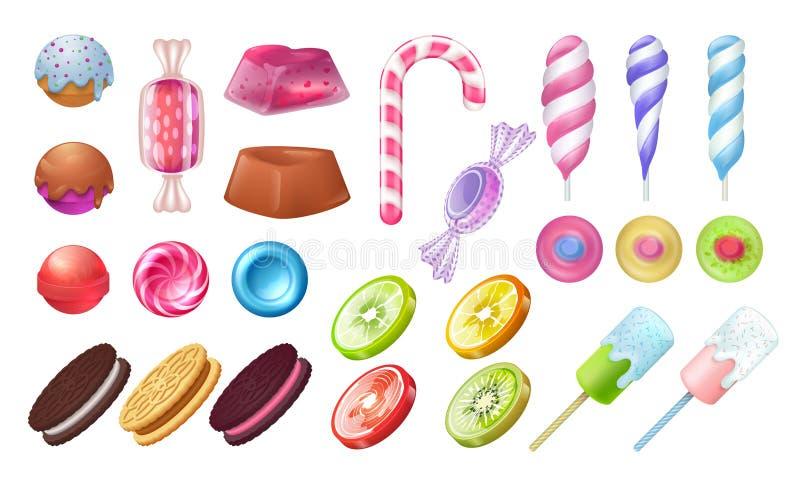 Леденцы на палочке и конфеты Помадки шоколада и тянучки круглые, зефир bonbon карамельки и камедеобразное Конфеты студней вектора иллюстрация вектора