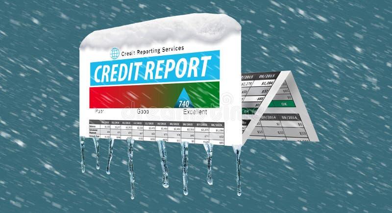 Ледистое, снег покрытая справка о кредитоспособности в пурге иллюстрирует идею замерзать ваша справка о кредитоспособности иллюстрация вектора