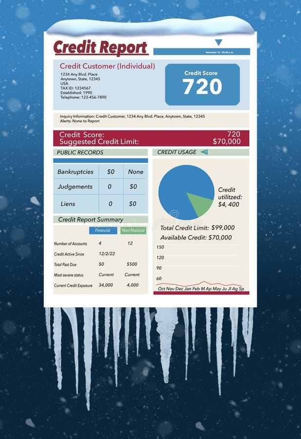 Ледистое, снег покрытая справка о кредитоспособности в пурге иллюстрирует идею замерзать ваша справка о кредитоспособности Это за иллюстрация штока