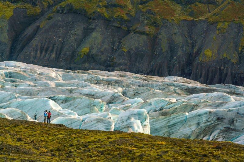 Ледник Svinafellsjokull в национальном парке Vatnajokull стоковое фото rf