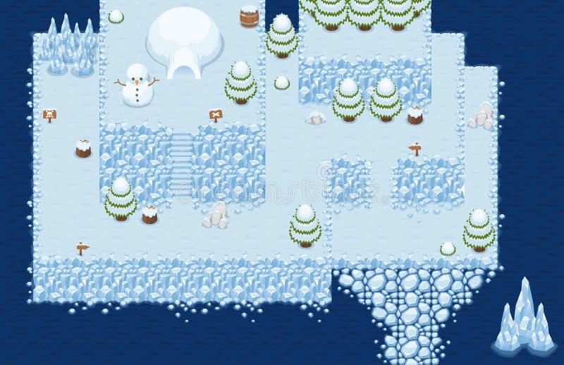 Ледовитая верхней части игра Tileset вниз бесплатная иллюстрация