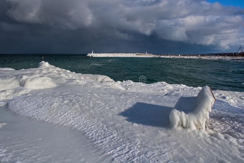 Ледяная сцена в Meaford, Онтарио портового района, Канада стоковая фотография rf