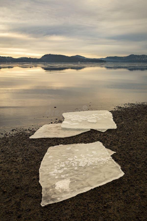 3 ледяного поля на темном песке на норвежском пляже Штиль на море, туман и туман Hamresanden, Kristiansand, Норвегия стоковое фото