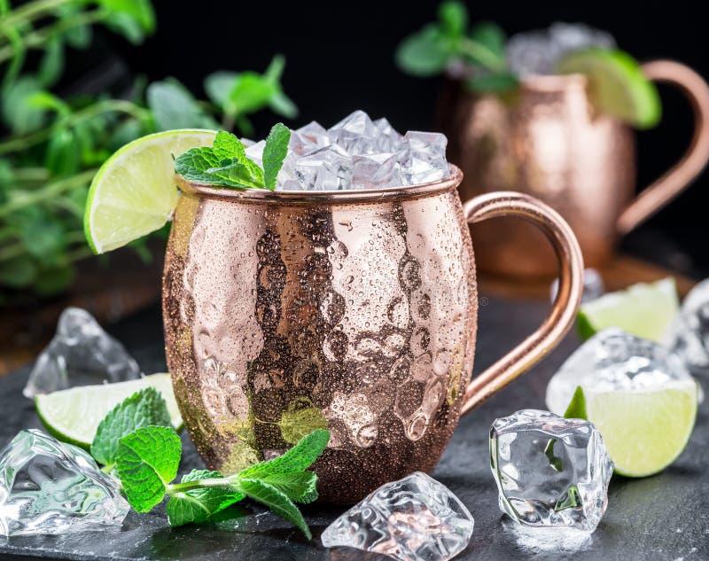 Ледяной холодный коктейль ослов Москвы в чашке бондаря Конец-вверх стоковая фотография