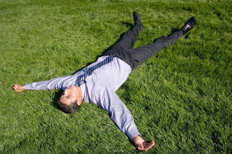 лежать травы бизнесмена стоковое изображение rf