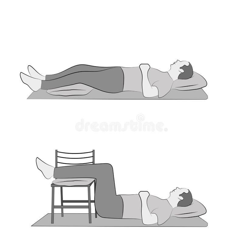 Лежа позиции для расслабляющих ног тренировки бесплатная иллюстрация