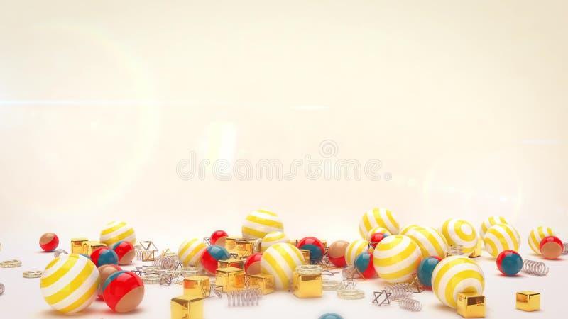 Лежа праздничные Striped шарики иллюстрация вектора