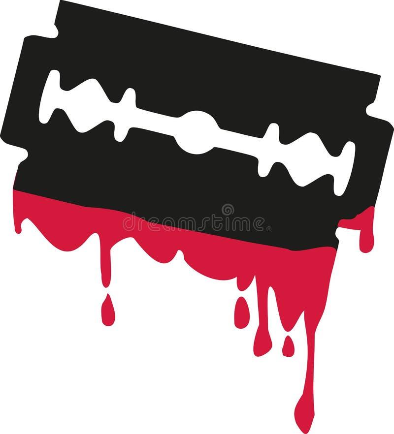 Лезвие бритвы с кровью иллюстрация штока