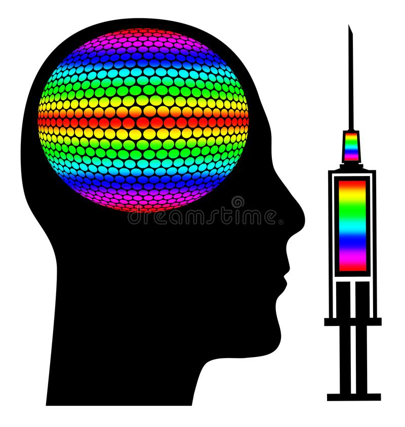 Лекарства и мозг иллюстрация штока