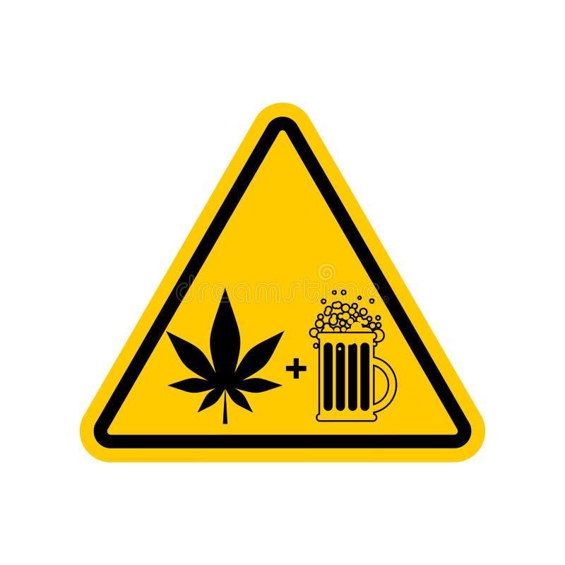 Лекарства и спирт внимания Дорожный знак опасностей желтый Пиво и иллюстрация штока