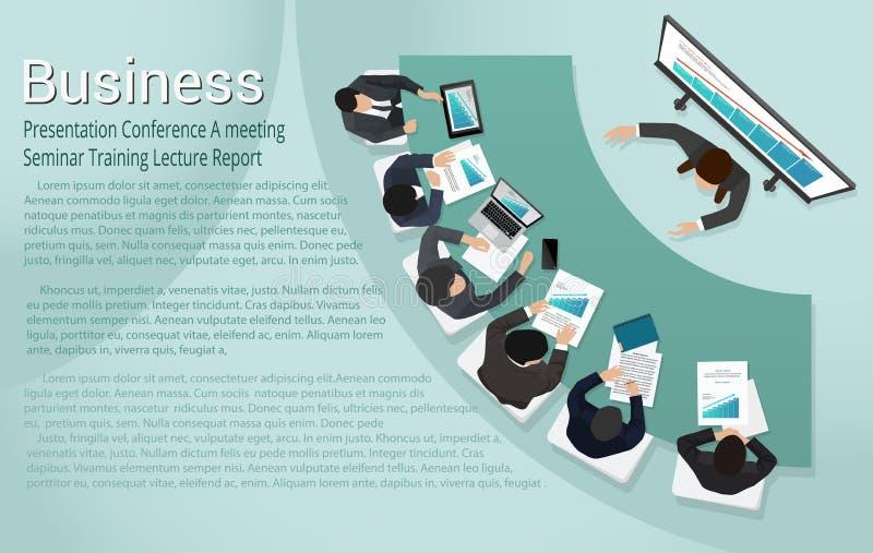 Лекция по тренировочного семинара встречи отчете о бизнес-конференции представления иллюстрация вектора