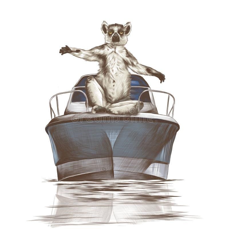 Лемур сидит на смычке яхты иллюстрация штока