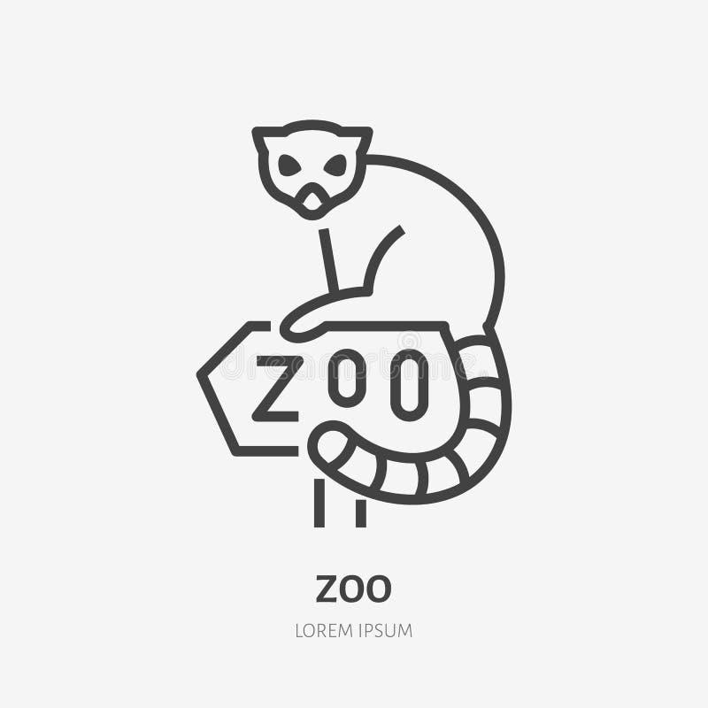 Лемур сидя на линии значке знака зоопарка плоской Знак зоопарка, логотип живой природы иллюстрация вектора