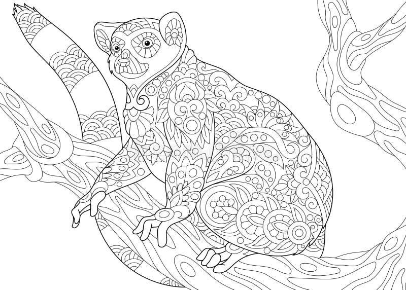 Лемур Zentangle стилизованный иллюстрация вектора