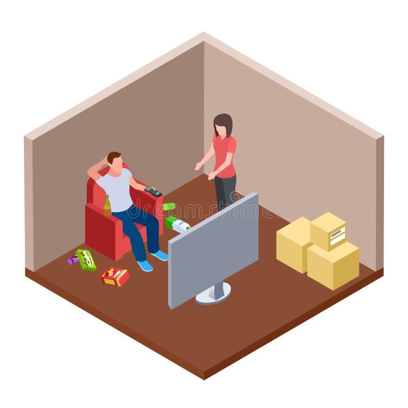 Ленивый супруг смотря ТВ с пивом и отбросом, женой клянется - концепции вектора семьи равновеликой иллюстрация вектора
