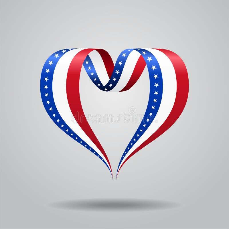 Лента американского флага в форме сердц также вектор иллюстрации притяжки corel бесплатная иллюстрация
