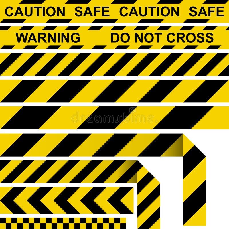 Лента барьера Желтая и черная рестриктивная лента бесплатная иллюстрация