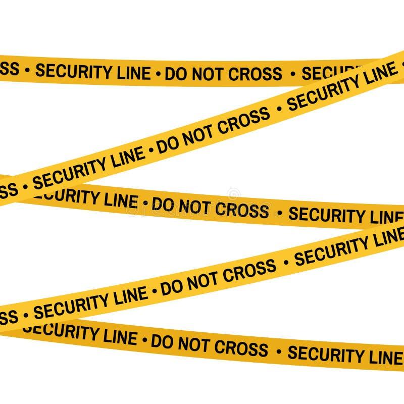 Лента желтого цвета места преступления, линия полиции не пересекает ленту безопасностью Плоск-стиль шаржа также вектор иллюстраци иллюстрация штока