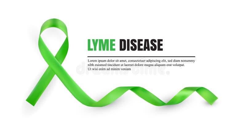 Лента зеленой осведомленности заболеванием Lyme символическая иллюстрация вектора