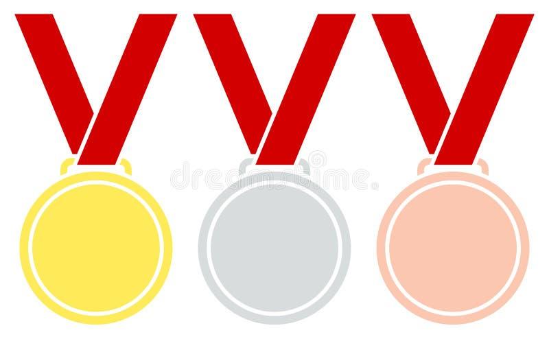 Лента золота 3 графическая вися медалей серебряная бронзовая красная иллюстрация вектора