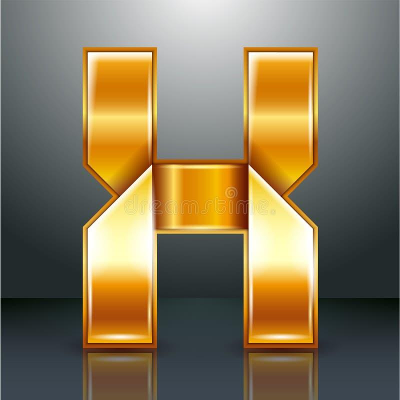 Лента золота металла письма - x иллюстрация вектора