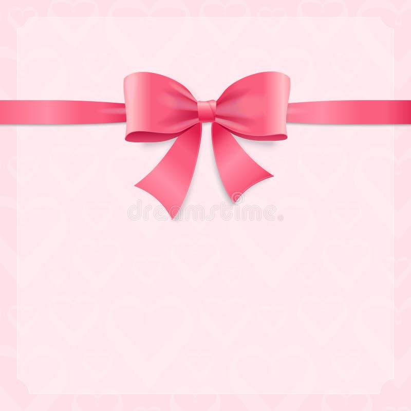 Лента и смычок ведьмы карточки Silk розовые вектор иллюстрация штока