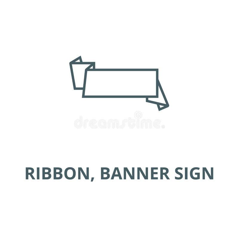 Лента, линия значок вектора знака знамени, линейная концепция, знак плана, символ иллюстрация штока