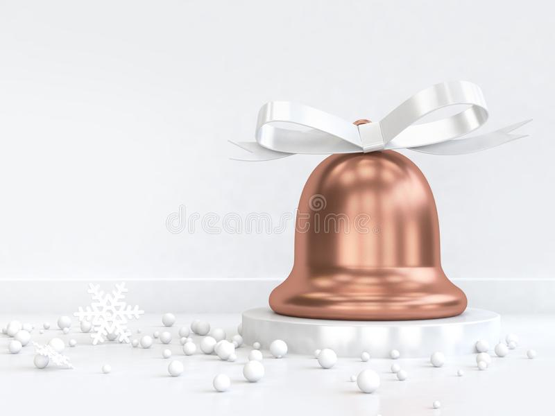 лента смычка острословия колокола рождества меди перевода 3d много сфера иллюстрация штока