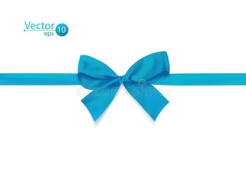 Лента с голубым смычком на белой предпосылке бесплатная иллюстрация