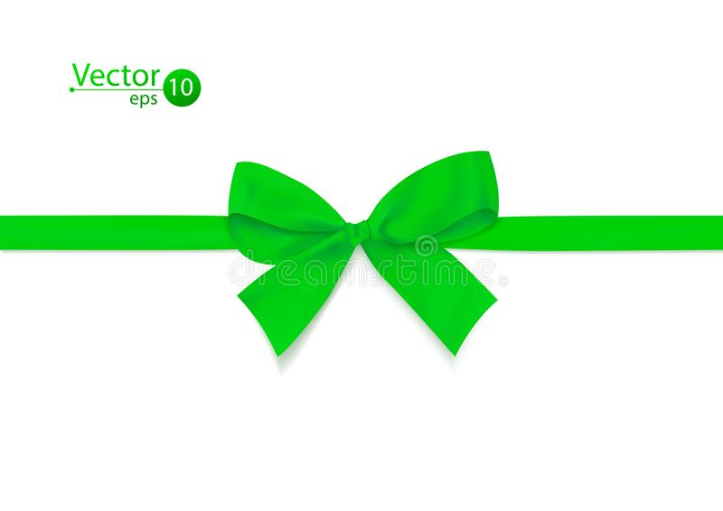 Лента с зеленым смычком на белой предпосылке также вектор иллюстрации притяжки corel иллюстрация штока