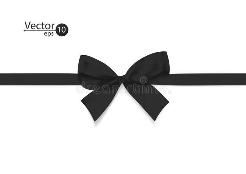 Лента с черным смычком на белой предпосылке иллюстрация вектора