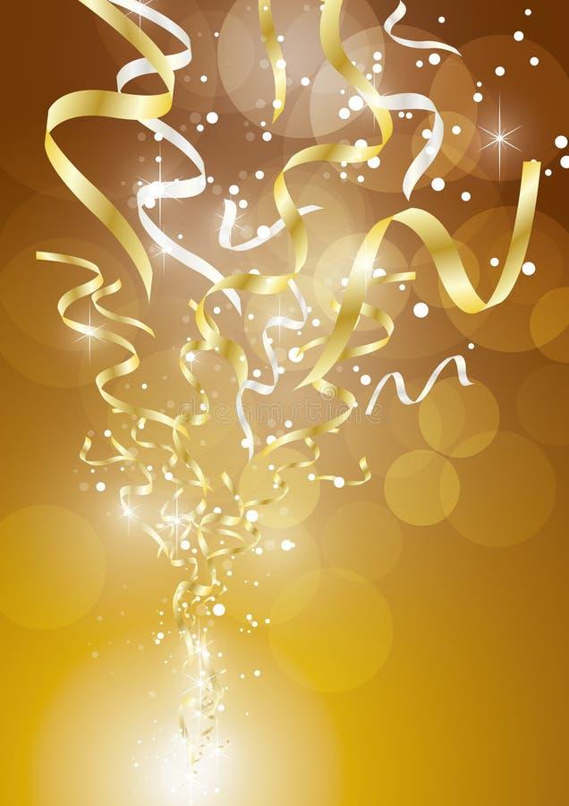 Ленты взрывают золото 2 иллюстрация вектора