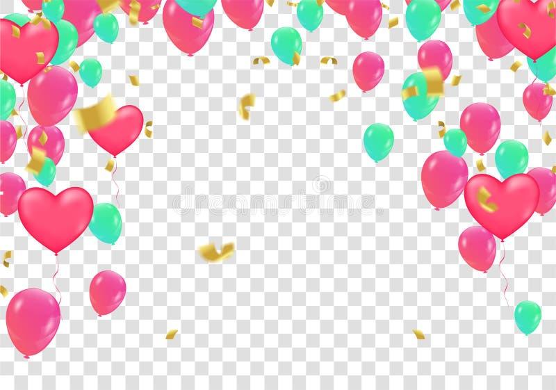 Ленты воздушного шара и флага Confetti красочные над белой стеной плитки, иллюстрация вектора